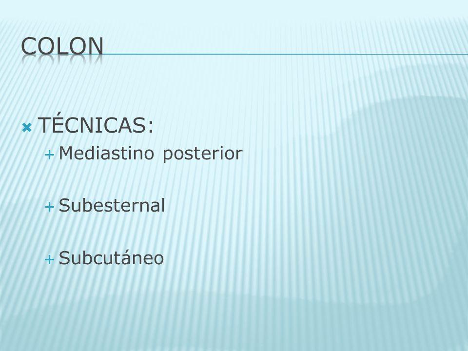 TÉCNICAS: Mediastino posterior Subesternal Subcutáneo