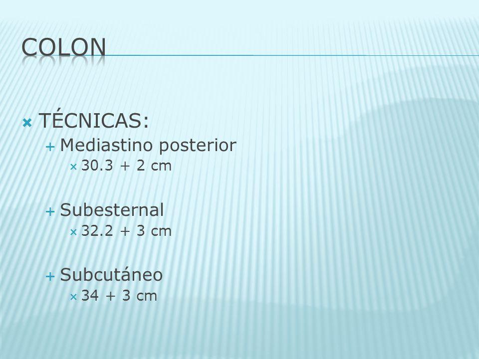 TÉCNICAS: Mediastino posterior 30.3 + 2 cm Subesternal 32.2 + 3 cm Subcutáneo 34 + 3 cm