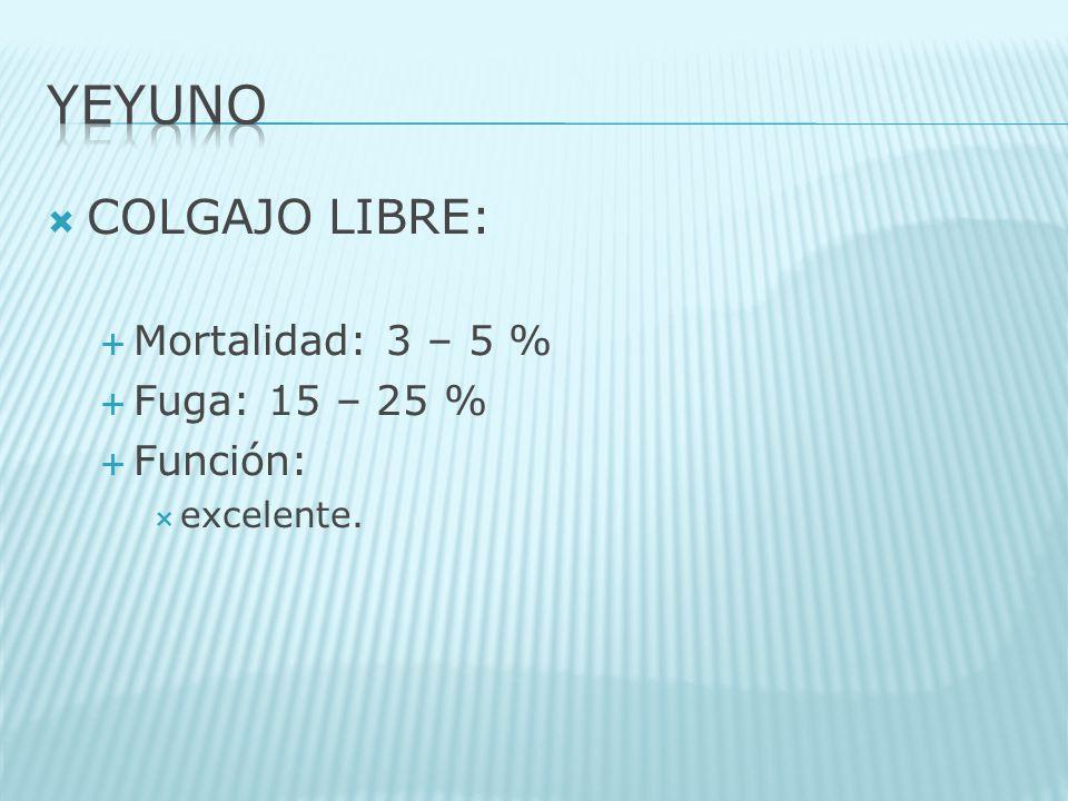 COLGAJO LIBRE: Mortalidad: 3 – 5 % Fuga: 15 – 25 % Función: excelente.