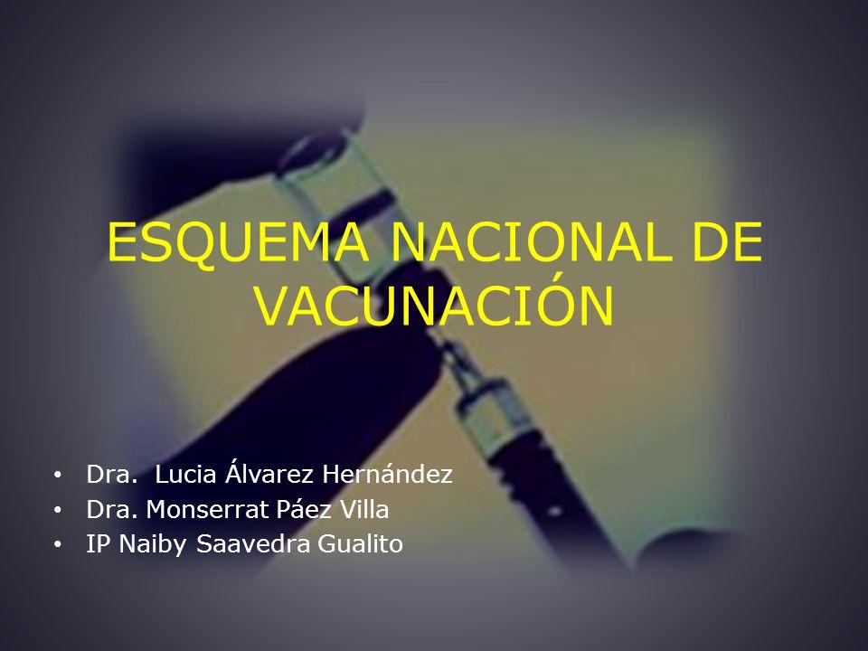 ESQUEMA NACIONAL DE VACUNACIÓN Dra.Lucia Álvarez Hernández Dra.