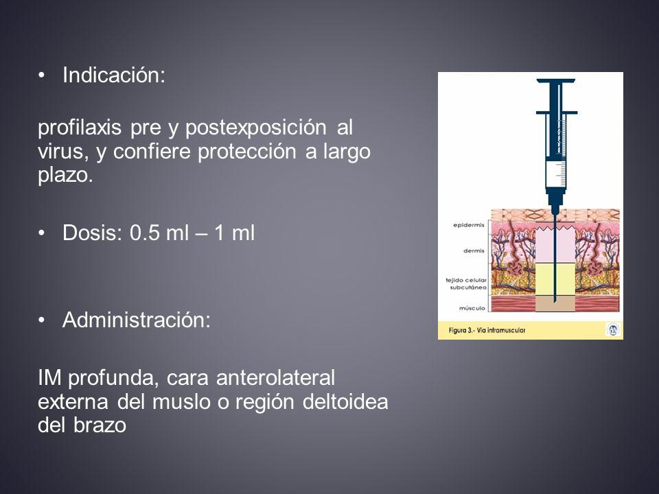 Indicación: profilaxis pre y postexposición al virus, y confiere protección a largo plazo.