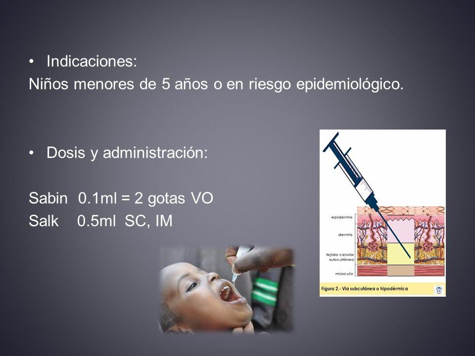 Indicaciones: Niños menores de 5 años o en riesgo epidemiológico.