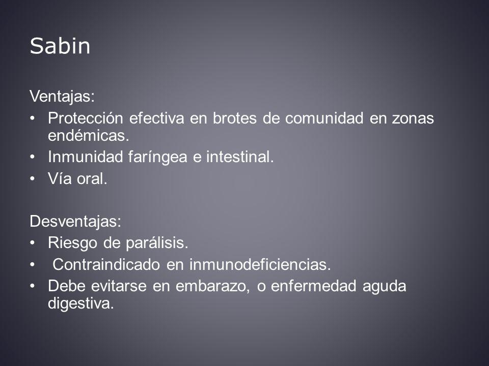 Sabin Ventajas: Protección efectiva en brotes de comunidad en zonas endémicas.