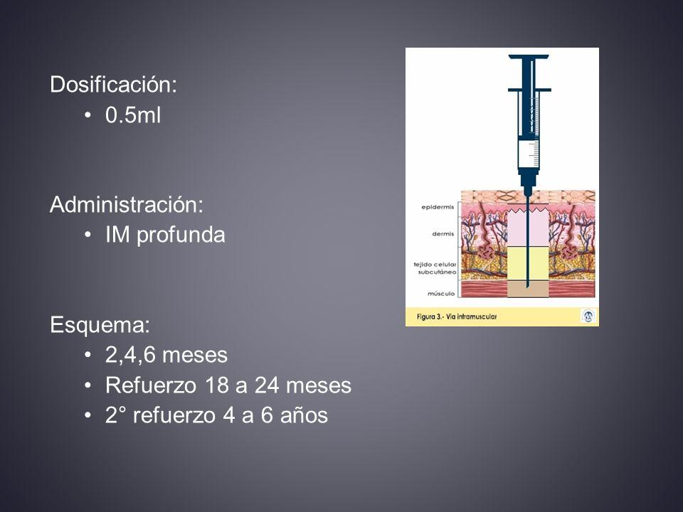 Dosificación: 0.5ml Administración: IM profunda Esquema: 2,4,6 meses Refuerzo 18 a 24 meses 2° refuerzo 4 a 6 años