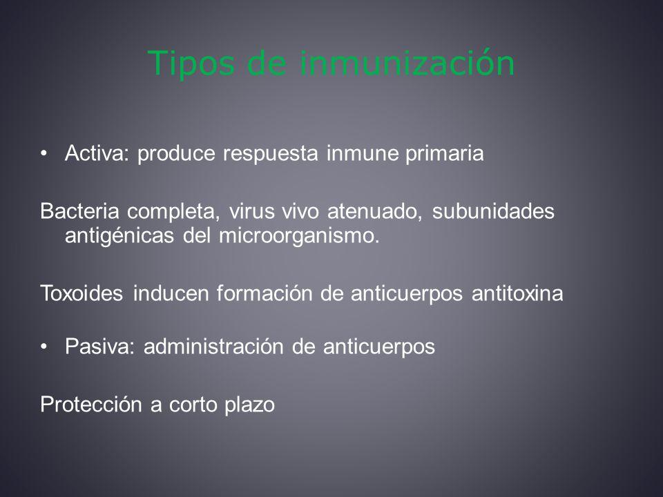 Tipos de inmunización Activa: produce respuesta inmune primaria Bacteria completa, virus vivo atenuado, subunidades antigénicas del microorganismo.