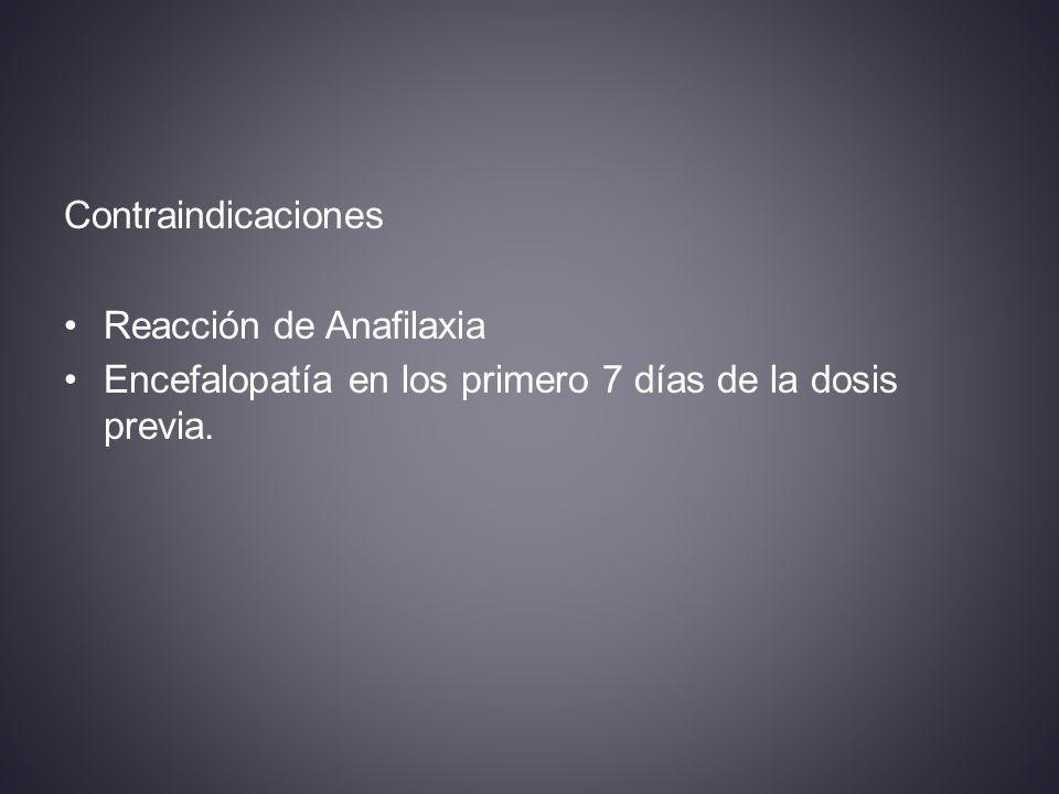 Contraindicaciones Reacción de Anafilaxia Encefalopatía en los primero 7 días de la dosis previa.