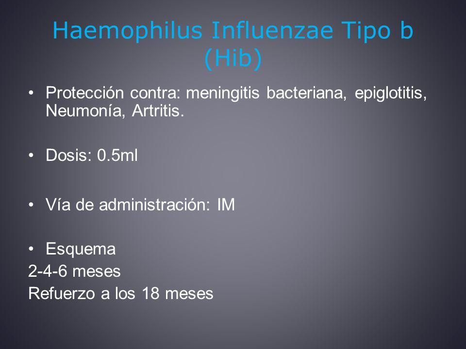 Haemophilus Influenzae Tipo b (Hib) Protección contra: meningitis bacteriana, epiglotitis, Neumonía, Artritis.