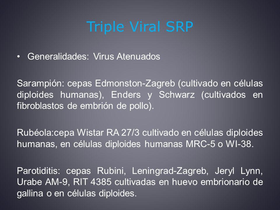 Triple Viral SRP Generalidades: Virus Atenuados Sarampión: cepas Edmonston-Zagreb (cultivado en células diploides humanas), Enders y Schwarz (cultivados en fibroblastos de embrión de pollo).