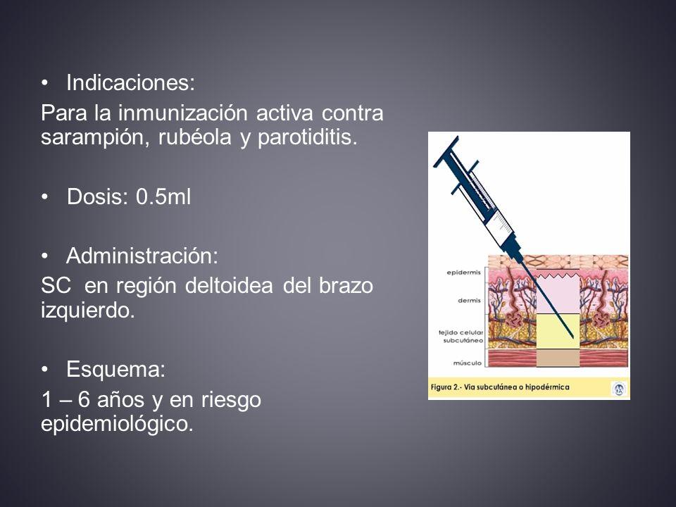 Indicaciones: Para la inmunización activa contra sarampión, rubéola y parotiditis.