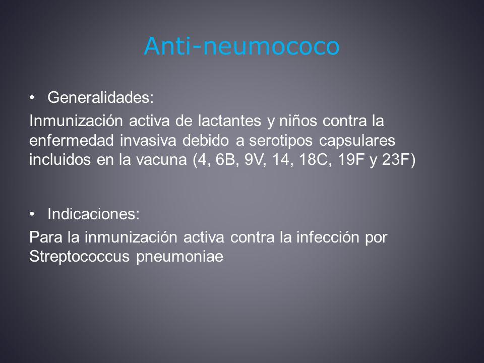 Anti-neumococo Generalidades: Inmunización activa de lactantes y niños contra la enfermedad invasiva debido a serotipos capsulares incluidos en la vacuna (4, 6B, 9V, 14, 18C, 19F y 23F) Indicaciones: Para la inmunización activa contra la infección por Streptococcus pneumoniae