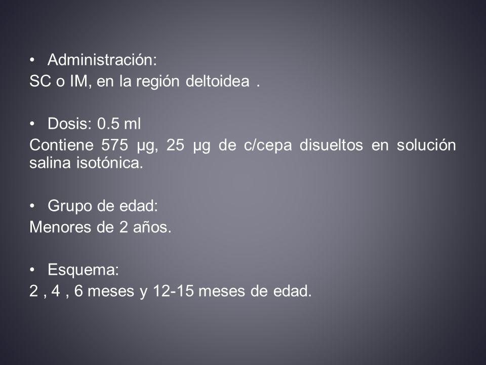 Administración: SC o IM, en la región deltoidea.
