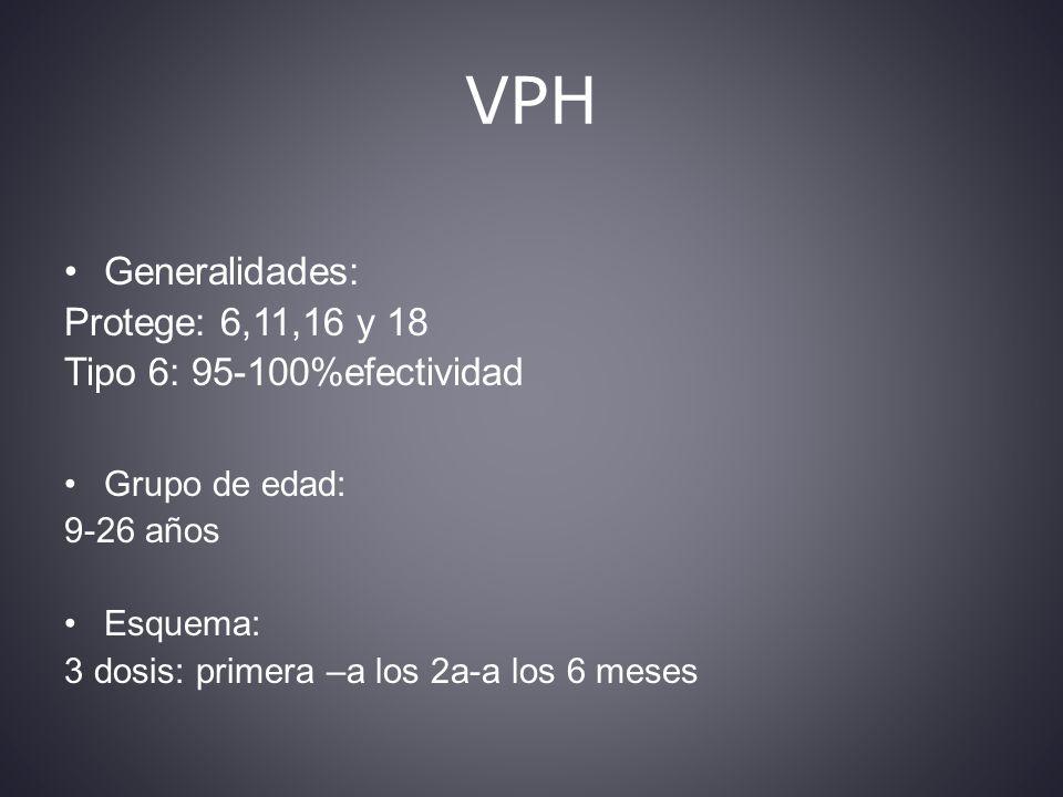 VPH Generalidades: Protege: 6,11,16 y 18 Tipo 6: 95-100%efectividad Grupo de edad: 9-26 años Esquema: 3 dosis: primera –a los 2a-a los 6 meses