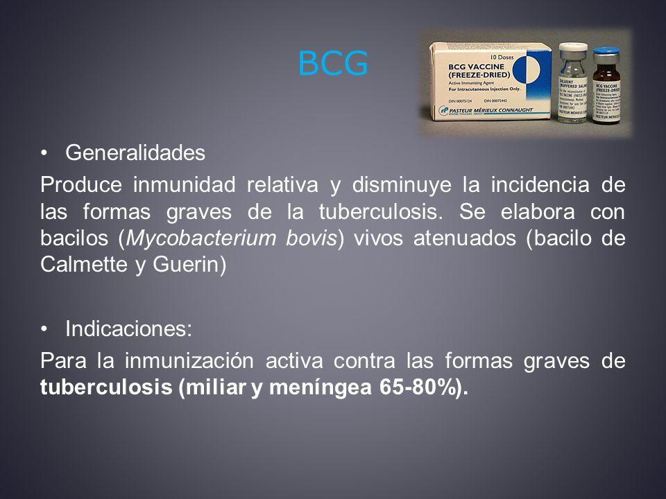 BCG Generalidades Produce inmunidad relativa y disminuye la incidencia de las formas graves de la tuberculosis.