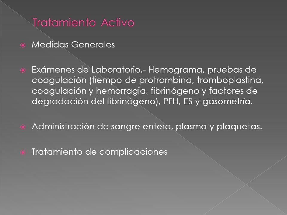 Medidas Generales Exámenes de Laboratorio.- Hemograma, pruebas de coagulación (tiempo de protrombina, tromboplastina, coagulación y hemorragia, fibrin