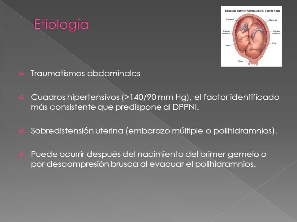 Signos anatomopatológicos Hematoma retroplacentario con afección en la estructura placentaria.