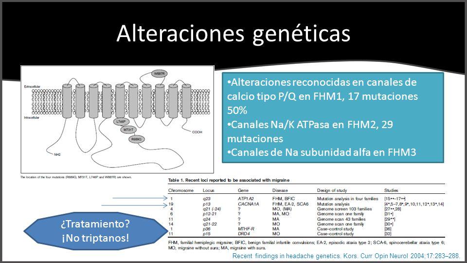Alteraciones genéticas Recent findings in headache genetics. Kors. Curr Opin Neurol 2004;17:283–288. Alteraciones reconocidas en canales de calcio tip