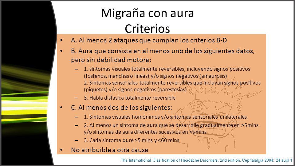 Migraña con aura Criterios A. Al menos 2 ataques que cumplan los criterios B-D B.