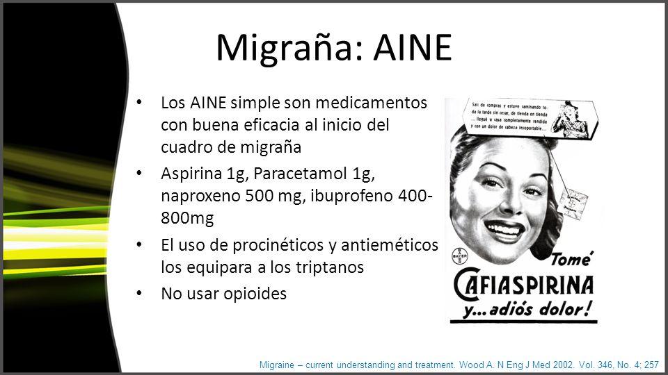 Migraña: AINE Los AINE simple son medicamentos con buena eficacia al inicio del cuadro de migraña Aspirina 1g, Paracetamol 1g, naproxeno 500 mg, ibuprofeno 400- 800mg El uso de procinéticos y antieméticos los equipara a los triptanos No usar opioides Migraine – current understanding and treatment.