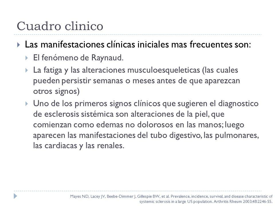 Cuadro clinico Las manifestaciones clínicas iniciales mas frecuentes son: El fenómeno de Raynaud. La fatiga y las alteraciones musculoesqueleticas (la