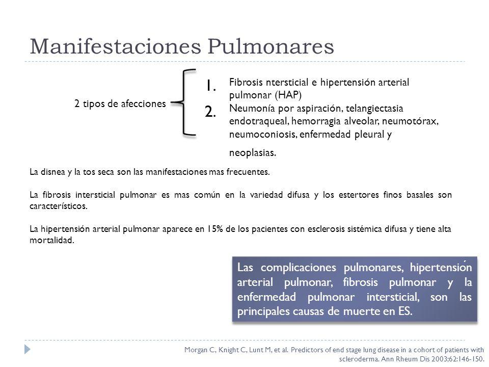 Manifestaciones Pulmonares La disnea y la tos seca son las manifestaciones mas frecuentes. La fibrosis intersticial pulmonar es mas común en la varied