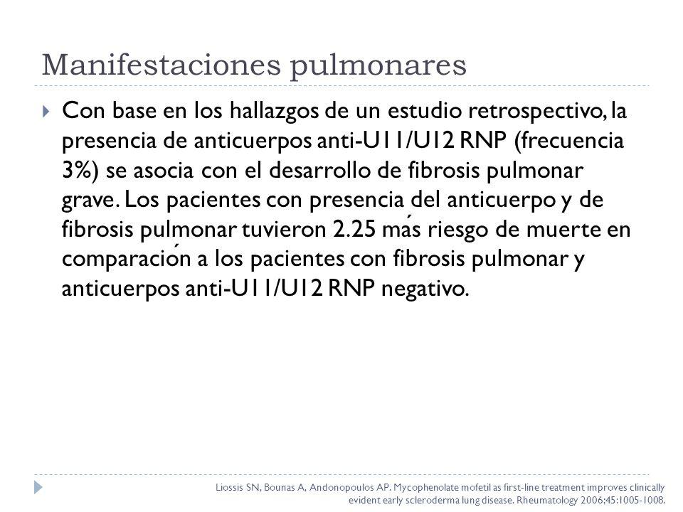 Con base en los hallazgos de un estudio retrospectivo, la presencia de anticuerpos anti-U11/U12 RNP (frecuencia 3%) se asocia con el desarrollo de fib