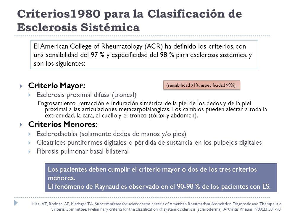 Criterios1980 para la Clasificación de Esclerosis Sistémica Criterio Mayor: Esclerosis proximal difusa (troncal) Engrosamiento, retracción e induració
