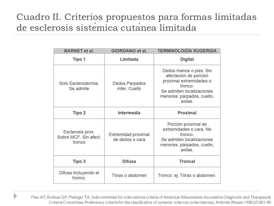 Cuadro II. Criterios propuestos para formas limitadas de esclerosis sistemica cutanea limitada Masi AT, Rodnan GP, Medsger TA. Subcommittee for sclero