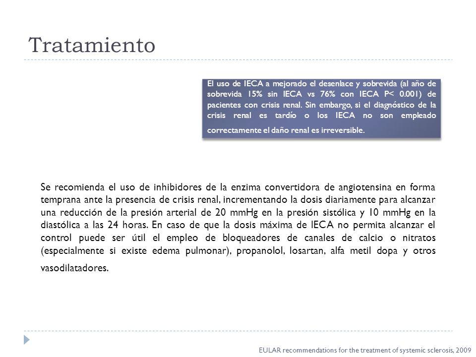 Tratamiento El uso de IECA a mejorado el desenlace y sobrevida (al año de sobrevida 15% sin IECA vs 76% con IECA P< 0.001) de pacientes con crisis ren