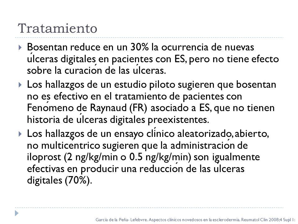 Tratamiento Bosentan reduce en un 30% la ocurrencia de nuevas ulceras digitales en pacientes con ES, pero no tiene efecto sobre la curacion de las ulc