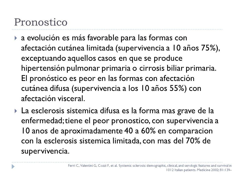 Pronostico a evolución es más favorable para las formas con afectación cutánea limitada (supervivencia a 10 años 75%), exceptuando aquellos casos en q