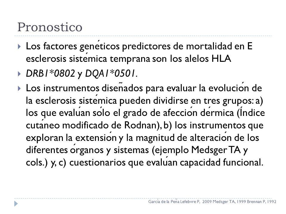 Pronostico Los factores geneticos predictores de mortalidad en E esclerosis sistemica temprana son los alelos HLA DRB1*0802 y DQA1*0501. Los instrumen