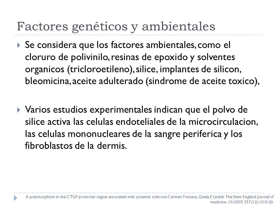 Factores geneticos Carmen Fonseca y Gisela Lindahl genotiparon a 1000 individuos un polimorfismo (G-945C) en el gen promotor del factor de crecimiento del tejido conectivo (CTGF).