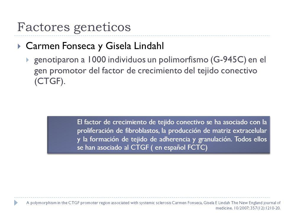 Factores geneticos Carmen Fonseca y Gisela Lindahl genotiparon a 1000 individuos un polimorfismo (G-945C) en el gen promotor del factor de crecimiento