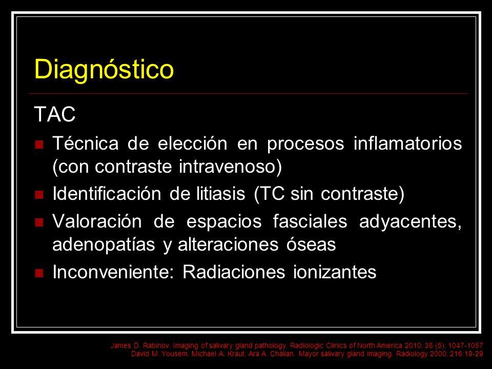Diagnóstico TAC Técnica de elección en procesos inflamatorios (con contraste intravenoso) Identificación de litiasis (TC sin contraste) Valoración de