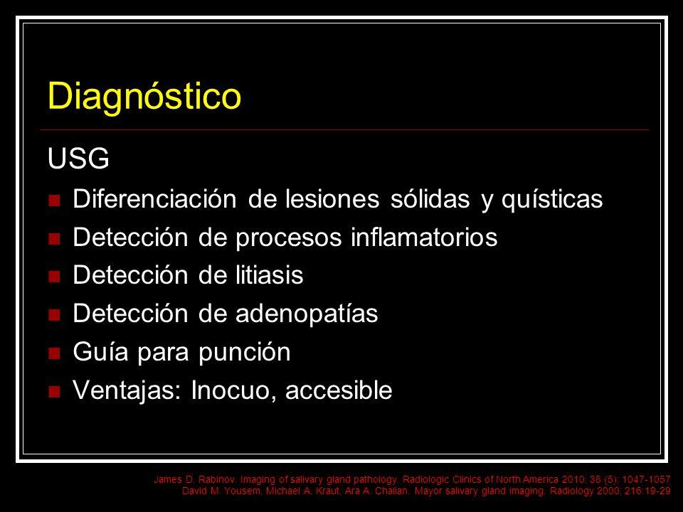 Diagnóstico USG Diferenciación de lesiones sólidas y quísticas Detección de procesos inflamatorios Detección de litiasis Detección de adenopatías Guía