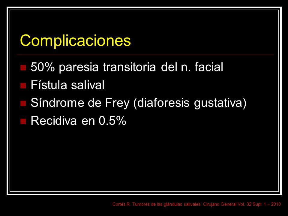 Complicaciones 50% paresia transitoria del n. facial Fístula salival Síndrome de Frey (diaforesis gustativa) Recidiva en 0.5% Cortés R. Tumores de las