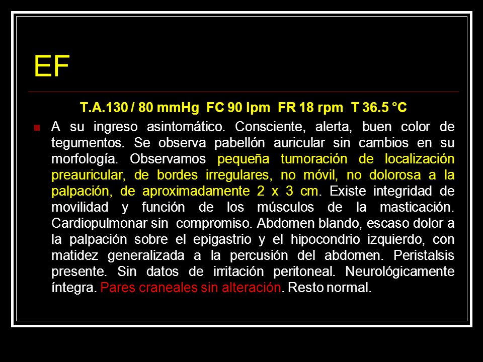 Parotidectomía superficial con preservación del nervio facial ETO: Adenoma Pleomorfo de glándula parótida izquierda Células epiteliales y mioepiteliales abundantes