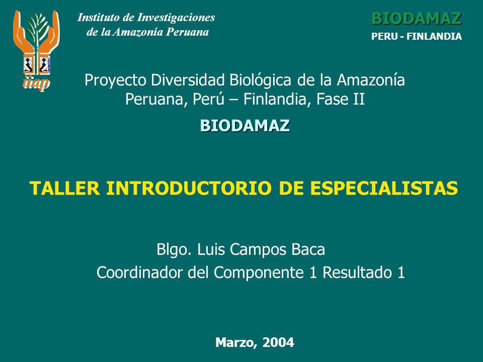 BIODAMAZ Fase I LOGROS RELACIONADOS ESTRATEGIA REGIONAL DE LA DIVERSIDAD BIOLOGICA AMAZONICA (ERDBA).