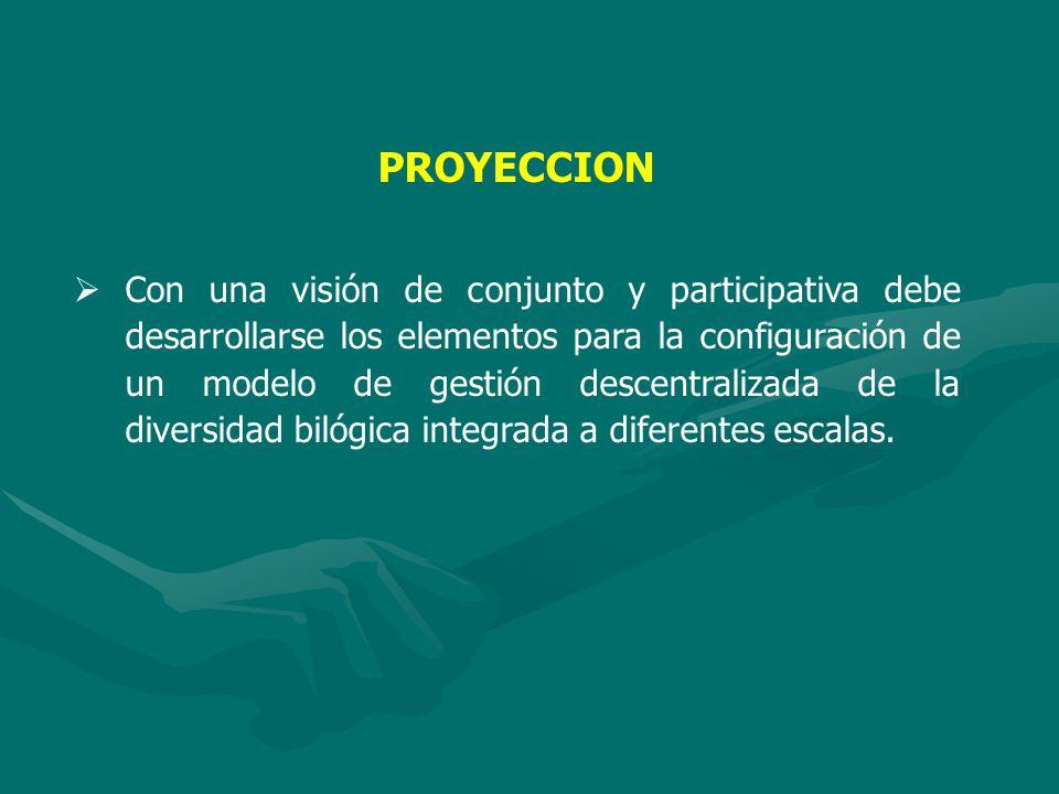 PROYECCION Con una visión de conjunto y participativa debe desarrollarse los elementos para la configuración de un modelo de gestión descentralizada de la diversidad bilógica integrada a diferentes escalas.