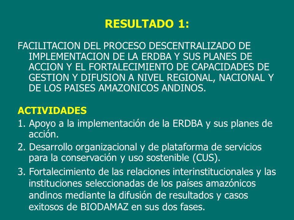 FACILITACION DEL PROCESO DESCENTRALIZADO DE IMPLEMENTACION DE LA ERDBA Y SUS PLANES DE ACCION Y EL FORTALECIMIENTO DE CAPACIDADES DE GESTION Y DIFUSION A NIVEL REGIONAL, NACIONAL Y DE LOS PAISES AMAZONICOS ANDINOS.