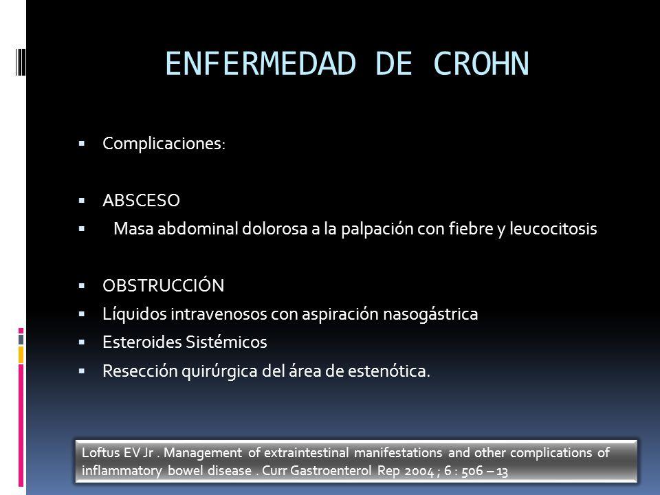 ENFERMEDAD DE CROHN Complicaciones: ABSCESO Masa abdominal dolorosa a la palpación con fiebre y leucocitosis OBSTRUCCIÓN Líquidos intravenosos con asp