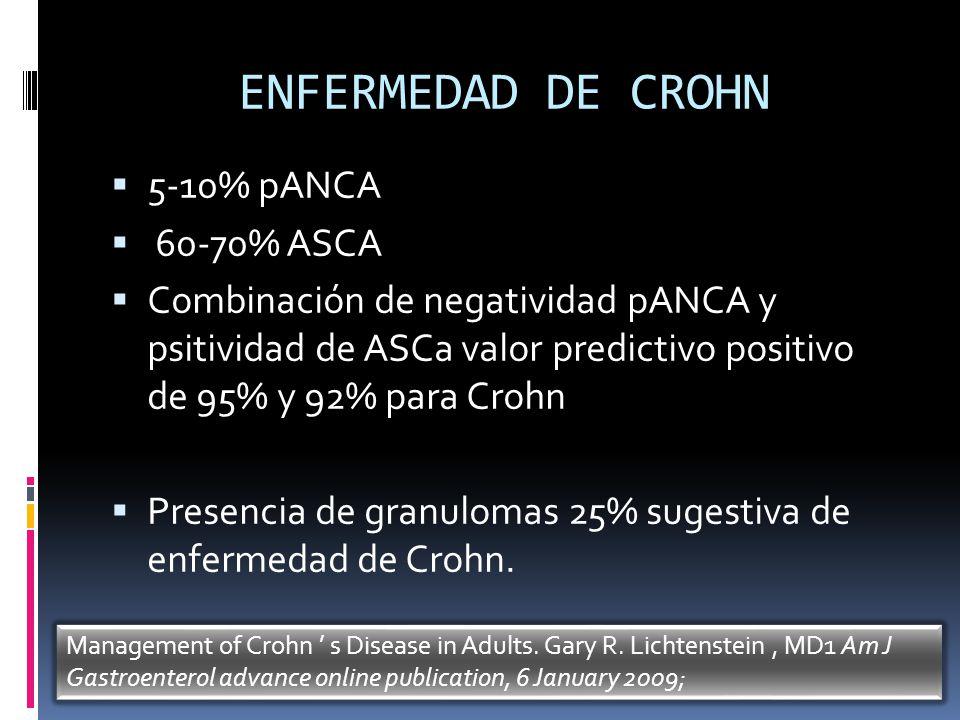 ENFERMEDAD DE CROHN 5-10% pANCA 60-70% ASCA Combinación de negatividad pANCA y psitividad de ASCa valor predictivo positivo de 95% y 92% para Crohn Pr