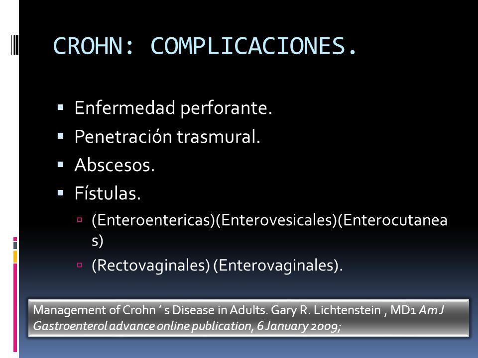 CROHN: COMPLICACIONES. Enfermedad perforante. Penetración trasmural. Abscesos. Fístulas. (Enteroentericas)(Enterovesicales)(Enterocutanea s) (Rectovag