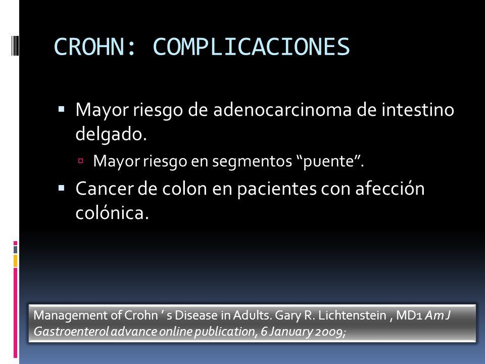 CROHN: COMPLICACIONES Mayor riesgo de adenocarcinoma de intestino delgado. Mayor riesgo en segmentos puente. Cancer de colon en pacientes con afección