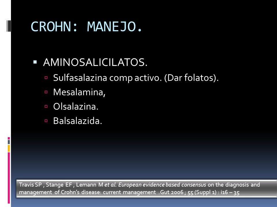 CROHN: MANEJO. AMINOSALICILATOS. Sulfasalazina comp activo. (Dar folatos). Mesalamina, Olsalazina. Balsalazida. Travis SP, Stange EF, Lemann M et al.