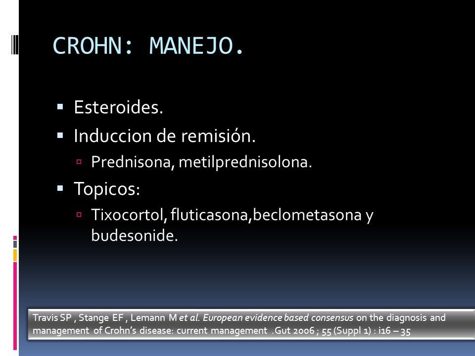 CROHN: MANEJO. Esteroides. Induccion de remisión. Prednisona, metilprednisolona. Topicos: Tixocortol, fluticasona,beclometasona y budesonide. Travis S