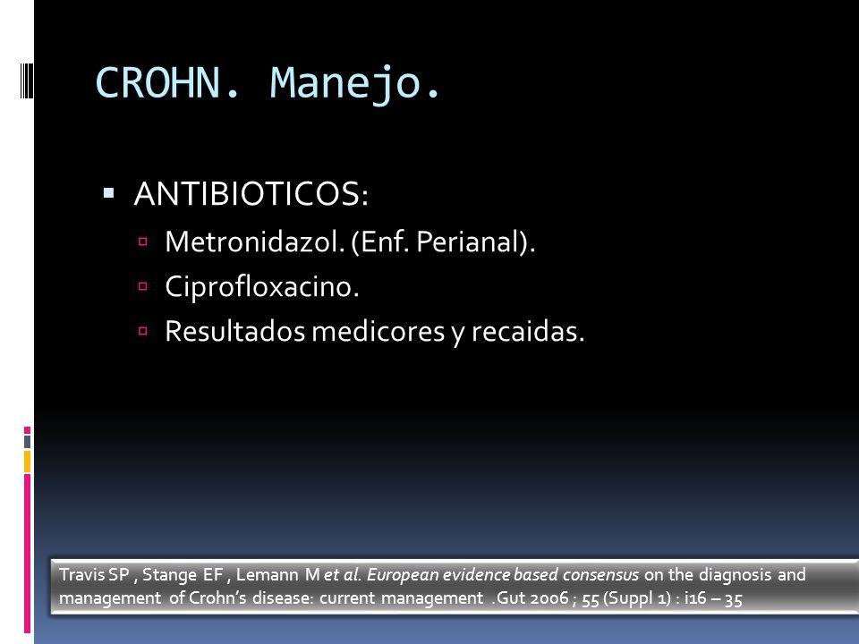 CROHN. Manejo. ANTIBIOTICOS: Metronidazol. (Enf. Perianal). Ciprofloxacino. Resultados medicores y recaidas. Travis SP, Stange EF, Lemann M et al. Eur