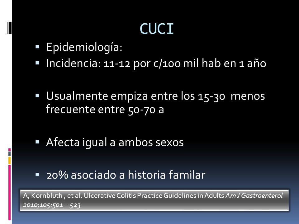 CUCI Epidemiología: Incidencia: 11-12 por c/100 mil hab en 1 año Usualmente empiza entre los 15-30 menos frecuente entre 50-70 a Afecta igual a ambos