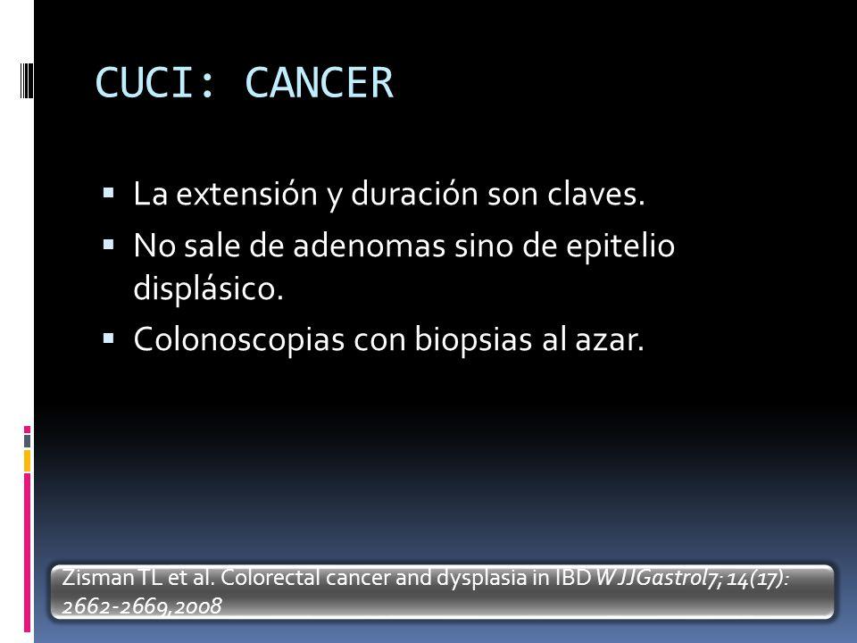 CUCI: CANCER La extensión y duración son claves. No sale de adenomas sino de epitelio displásico. Colonoscopias con biopsias al azar. Zisman TL et al.