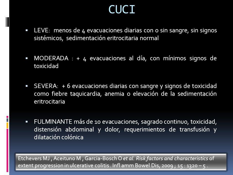 CUCI LEVE: menos de 4 evacuaciones diarias con o sin sangre, sin signos sistémicos, sedimentación eritrocitaria normal MODERADA : + 4 evacuaciones al